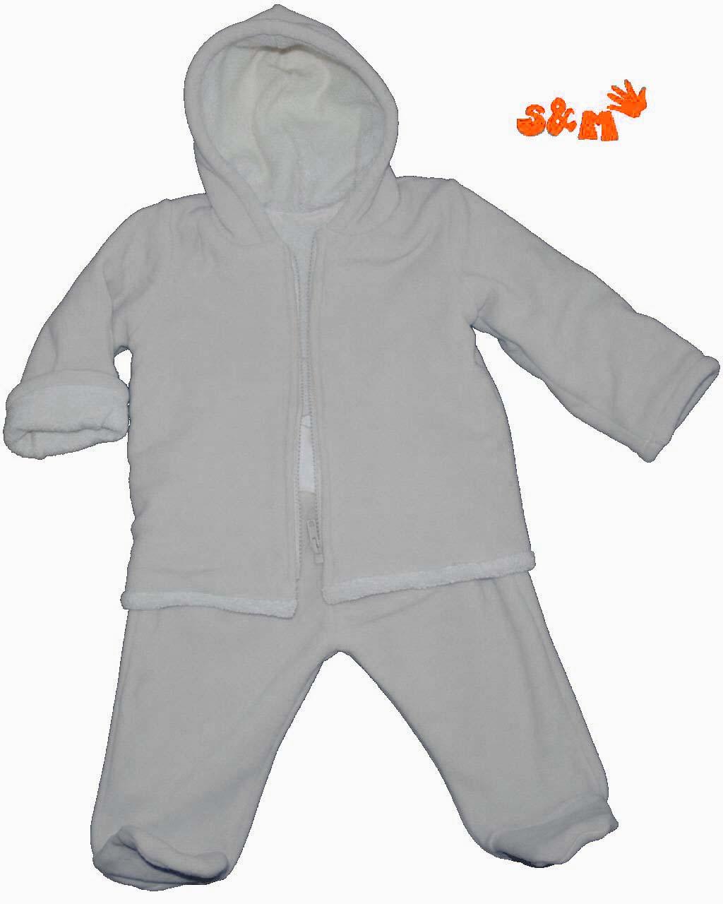 20289051cd8 bílý kojenecký fleecový zimní komplet bunda s beránkem (bavlna) +  polodupačky