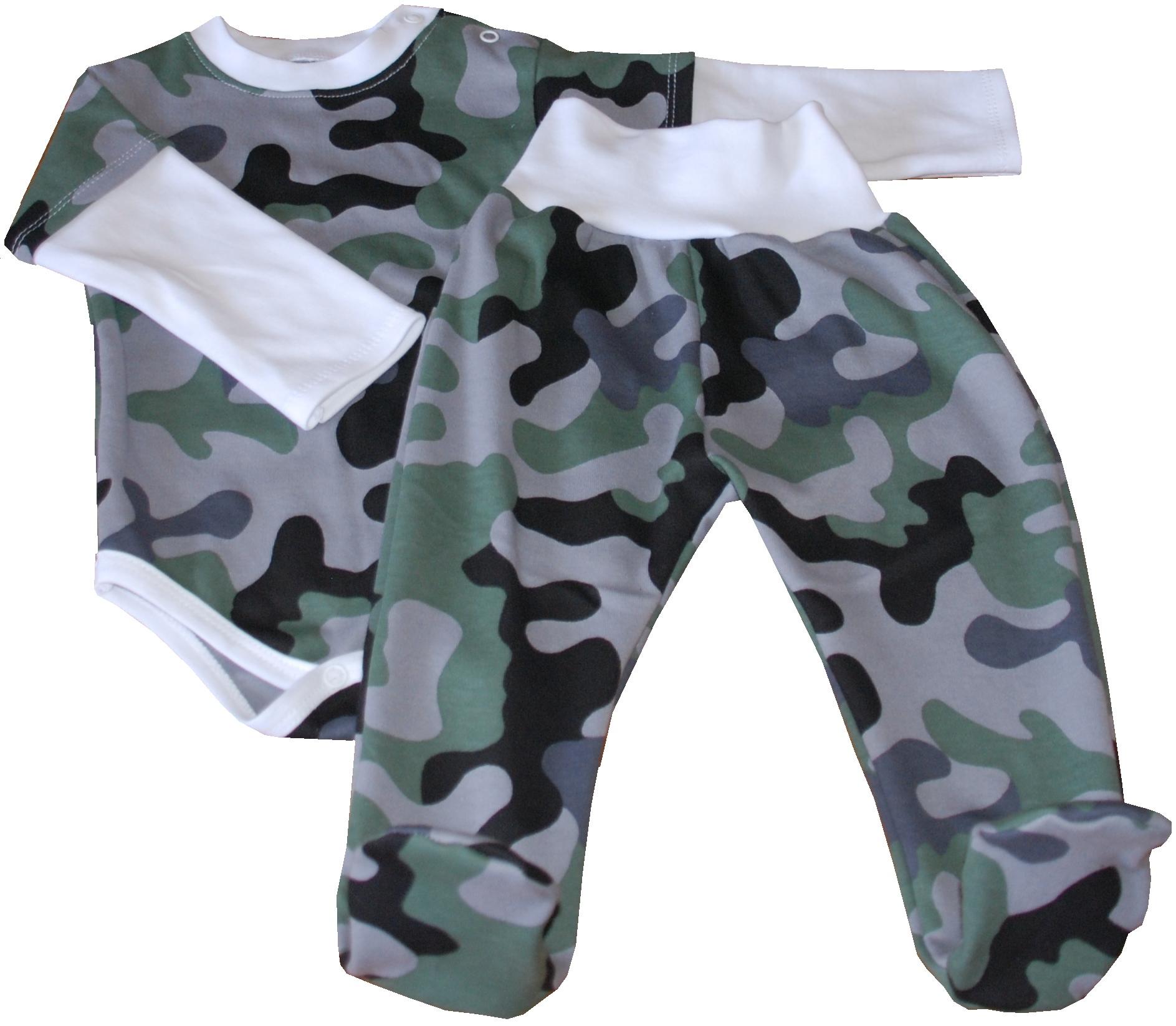 ARMY kojenecká soupravička maskáč - polodupačky a vrstvené body ... d9f30613cb